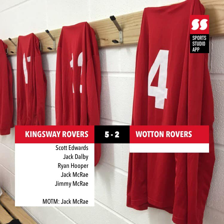 Picture of KRFC kit hanging on the wall showing a score of 5-2 against Wotton Rovers